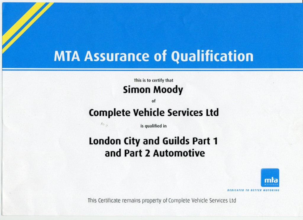 Complete Vehicle Services Paraparaumu Kapiti Coast London City and Guilds Part 1 and Part 2 Automotive Qualification MTA Certification